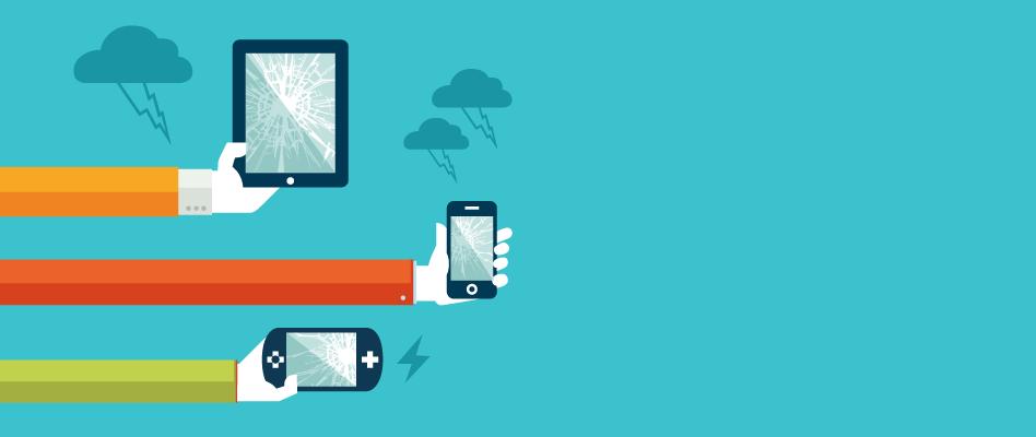Téléphone mobile, <br>tablette tactile,<br> console de jeux cassés ?